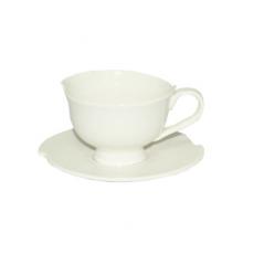 13629-02 Чашка с блюдцем белая (чашка-110мл, блюдце-11,5см)