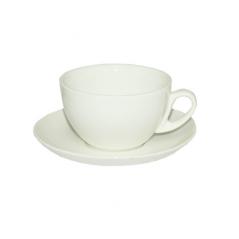 13641-02 Чашка с блюдцем белая (чашка-280мл, блюдце-15см)