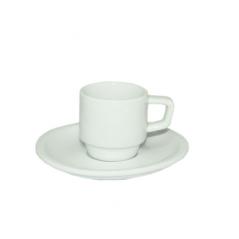 13629-03 Чашка с блюдцем белая (чашка-100мл, блюдце-13см)
