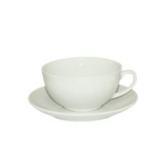 13641-01 Чашка с блюдцем белая (чашка-300мл, блюдце-15,5см)