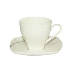 13640 Чашка с блюдцем белая (чашка-200мл, блюдце-14см)