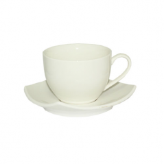 13640-01 Чашка с блюдцем белая (чашка-260мл, блюдце-14см)