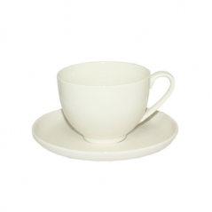 13641-04 Чашка с блюдцем белая (чашка-260мл, блюдце-14,5см)