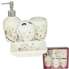 888-06-001 Набор 4предмета (мыльница, подставка для зубных щеток, стакан, диспенсер для мыла)  'Роза'