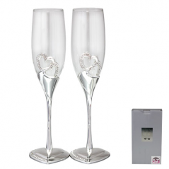 7047-11 Set of glasses for champagne Two hearts 220ml 2pcs