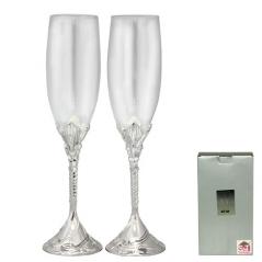 7047-14 Набор бокалов для шампанского Влюбленные сердца 2шт 220мл