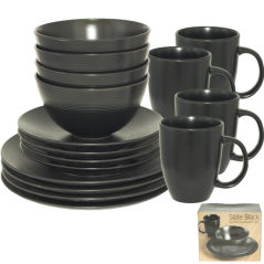438 Набор обеденный 16пр. (черный) (чашка-500мл, салатник-1л, тарелки-8.5',10.5')