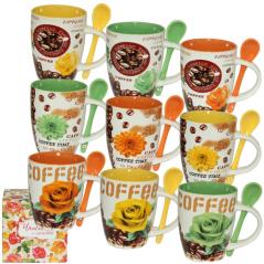 2167-5 Чашка с ложкой 350мл Кофе и цветы