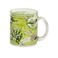 930 Чашка стеклянная 325мл. с рисунком (Ландыши)