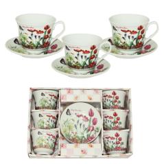 533-50 Сервиз чайный 12пр Тюльпан(чашка-280мл, блюдце-14см)