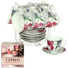 533-51 Сервиз чайный 12пр Ирис на стойке (чашка-280мл, блюдце-14см)