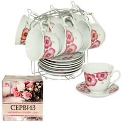 533-51 Сервиз чайный 12пр Фиалка на стойке (чашка-280мл, блюдце-14см)
