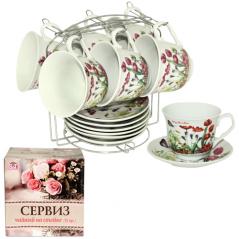 533-51 Сервиз чайный 12пр <a href='http://snt.od.ua/ru/poisk.html?q=Тюльпан' />Тюльпан</a> на стойке (чашка-280мл, блюдце-14см)