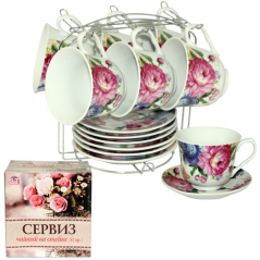 533-51 Сервиз чайный 12пр Пион на стойке (чашка-280мл, блюдце-14см)