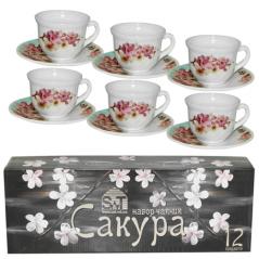 30055-004 Набор чайный 12 пр.(чашка-190мл, блюдце-14см) 'Сакура'