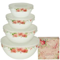 30054-002 Набор емкостей для хранения продуктов с крышкой 4шт (7', 6' , 5' , 4,2' ) 'Роза'