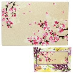 9552 Доска разделочная стеклянная 30х40х0.5 см (12) Цветущая вишня