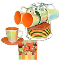 1464-8 Сервиз чайный 12 предметов на стойке 'Акварель' (чашка-230мл, блюдце-15)