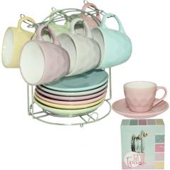 1464-7 Сервиз чайный 12 предметов на стойке 'Грани' (чашка-230мл, блюдце-15)