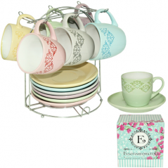 1464-5  Сервиз чайный 12 предметов на стойке 'Элегантность' (чашка-230мл, блюдце-15)