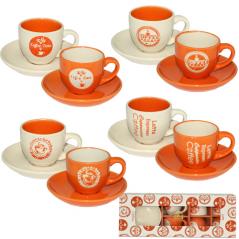1533-08 Сервиз кофейный 12пр. '<a href='http://snt.od.ua/ru/poisk.html?q=Кофе' />Кофе</a> оранж' (чашка-100мл, блюдце-11,5см)