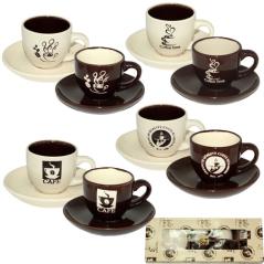1533-07 Сервиз кофейный 12пр. 'Кофе блэк' (чашка-100мл, блюдце-11,5см)