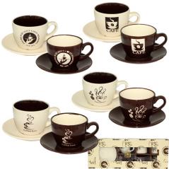1517-07 Сервиз чайный 12пр. 'Кофе блэк' (чашка-240мл, блюдце-14,5см)
