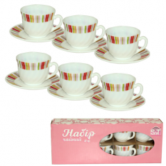 30055-61184 Набор чайный 12 пр.(чашка-190мл, блюдце-14см)  'Радуга пинк'
