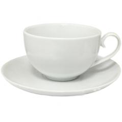 13641 Чашка с блюдцем белая (чашка-360мл, блюдце-17,5см)