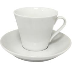 13641-07 Чашка с блюдцем белая (чашка-220мл, блюдце-15см)