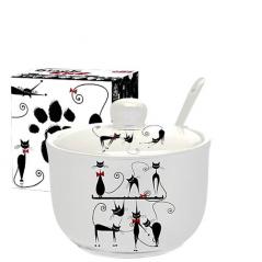 2242-12 Сахарница с ложкой 450мл 'Черная кошка' (d-11см, h-7,5 см)
