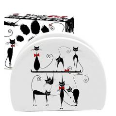 3662-12 Салфетница 'Черная кошка' (длина-10см, h-8 см)