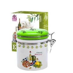 630-13 Емкость для сыпучих продуктов 0,5л 'Итальянские блюда' (h-10см, d-9,5см)
