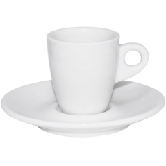 13629-07 Чашка с блюдцем белая (чашка-90 мл, блюдце-12,5 см)
