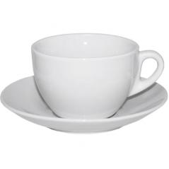 13641-08 Чашка с блюдцем белая (чашка-300 мл, блюдце-16 см)