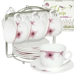 30055-100 Набор чайный 12пр.на стойке (чашка-190мл, блюдце-14см) Орхидея