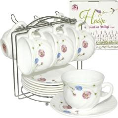30055-110 Набор чайный 12пр.на стойке(чашка-190мл, блюдце-14см) Весенние <a href='http://snt.od.ua/ru/poisk.html?q=цветы' />цветы</a>