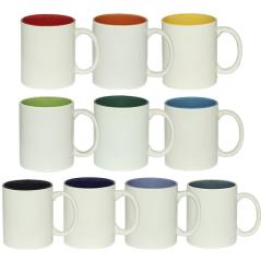 3575-10 Чашка 340мл микс вариант от 1 до 10 цв. белая снаружи, белая ручка