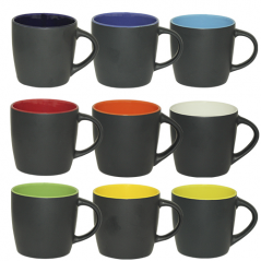 3576-4 Чашка 380мл микс вариант от 1 до 9 цв. черная снаружи