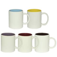 3575-9 Чашка 340мл микс вариант от 1 до 5 цв. белая снаружи, белая ручка