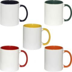 3575-5 Чашка 340мл микс вариант от 1 до 5 цв. белая снаружи цветная ручка