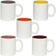 3575-8 Чашка 340мл микс вариант от 1 до 5 цв. белая снаружи, белая ручка