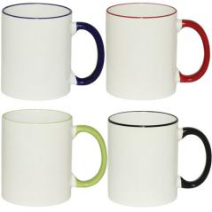 3575-6 Чашка 360мл микс вариант от 1 до 4 цв. белая снаружи