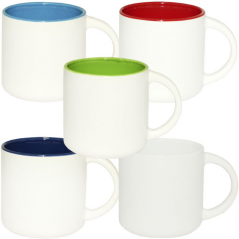 3577-6 Чашка 420мл микс вариант от 1 до 5 цв. белая снаружи, белая ручка