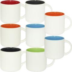 3576-1 Чашка 380мл микс вариант от 1 до 8 цв. белая снаружи, белая ручка