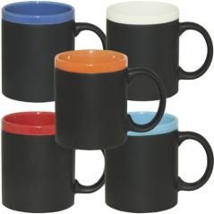 3575-14 Чашка 310мл микс вариант от 1 до 6 цв., цветной ободок