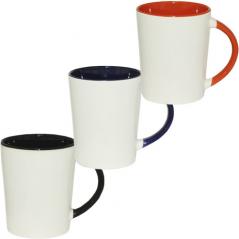 3577-4 Чашка 420мл микс вариант от 1 до 3 кол. белая снаружи, цветная ручка