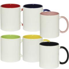 3575-13 Чашка 340мл микс вариант от 1 до 6 цв. белая снаружи