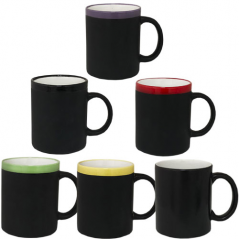 3575-14 Чашка (1) цветной ободок 320мл вариант от 1 до 6 цв.