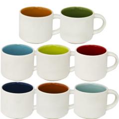 13650-5 Чашка Кофейная микс 90мл вариант от 1 до 8 цв белая снаружи